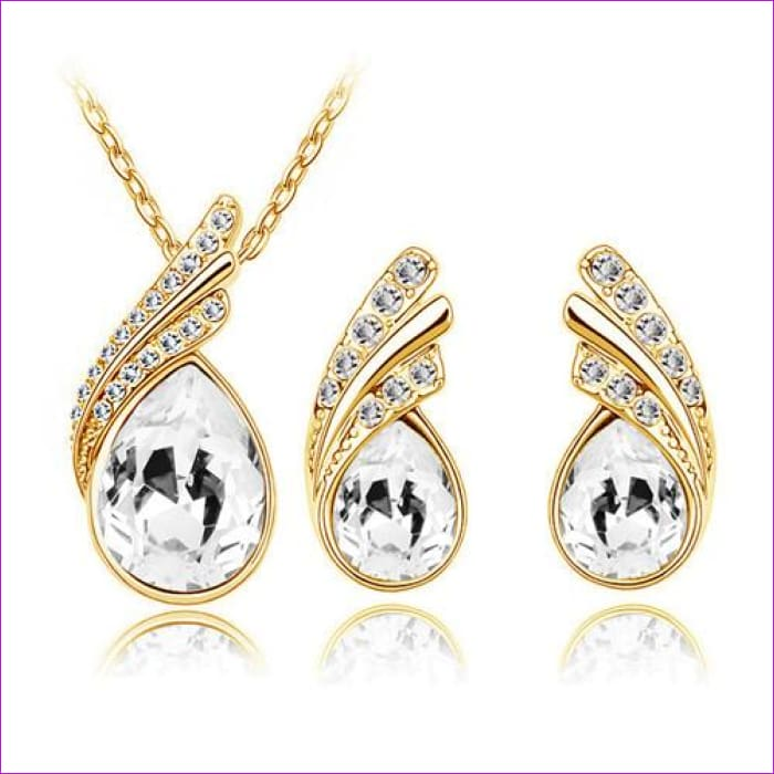 Bridal Jewelry set Austrian Crystal tear feather Water drop pendant earrings jewelry sets - gold white - Jewelry Sets Jewelry Sets