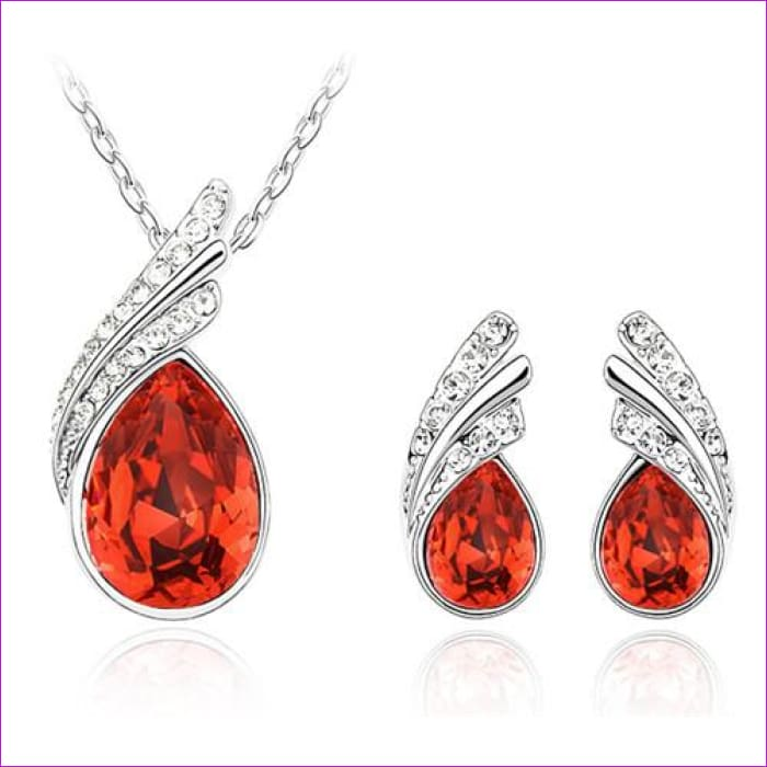 Bridal Jewelry set Austrian Crystal tear feather Water drop pendant earrings jewelry sets - red - Jewelry Sets Jewelry Sets