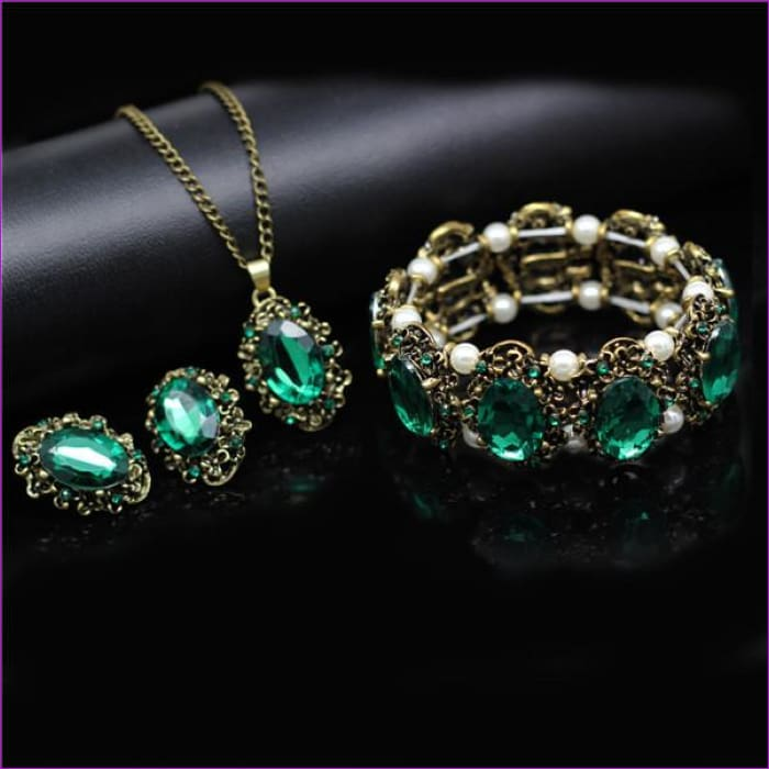 Bridal Jewelry Sets Green Crystal Antique Bronze Necklace Earrings Bracelet Rings - green 3 in set BR - Jewelry Sets Jewelry Sets