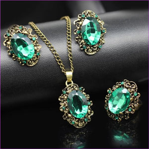 Bridal Jewelry Sets Green Crystal Antique Bronze Necklace Earrings Bracelet Rings - green 3 in set R - Jewelry Sets Jewelry Sets