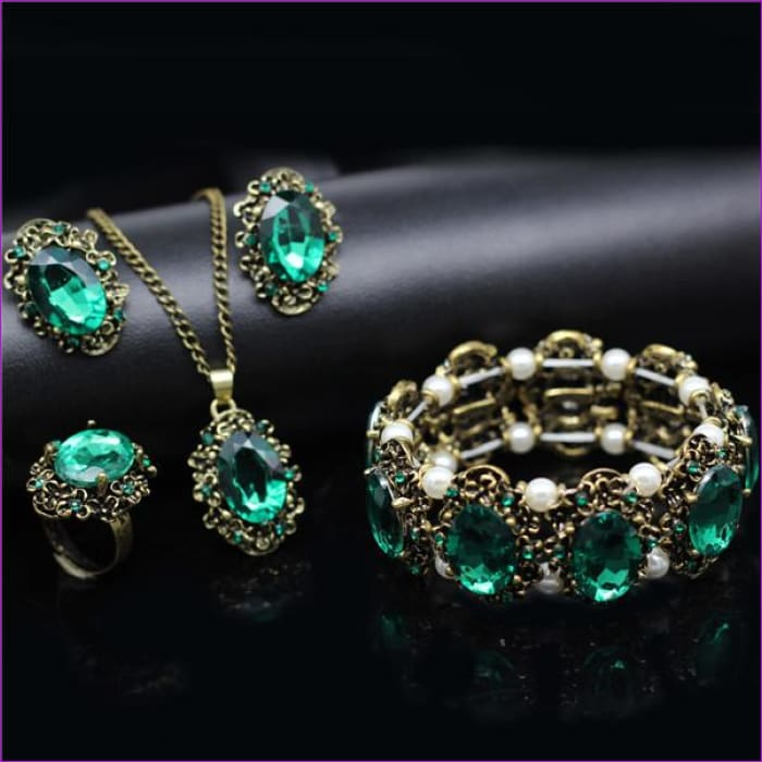 Bridal Jewelry Sets Green Crystal Antique Bronze Necklace Earrings Bracelet Rings - green 4 in set - Jewelry Sets Jewelry Sets