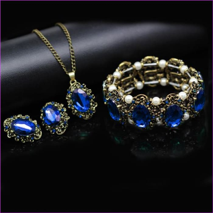 Bridal Jewelry Sets Green Crystal Antique Bronze Necklace Earrings Bracelet Rings - blue 3 in set BR - Jewelry Sets Jewelry Sets