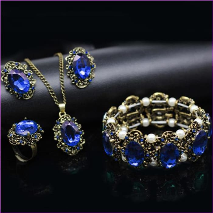 Bridal Jewelry Sets Green Crystal Antique Bronze Necklace Earrings Bracelet Rings - blue 4 in set - Jewelry Sets Jewelry Sets