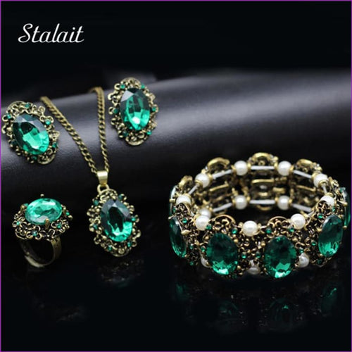 Bridal Jewelry Sets Green Crystal Antique Bronze Necklace Earrings Bracelet Rings - Jewelry Sets Jewelry Sets