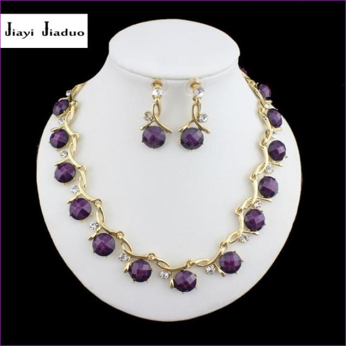 Bridal jewelry sets resin purple necklace earrings gold color necklace - Jewelry Sets