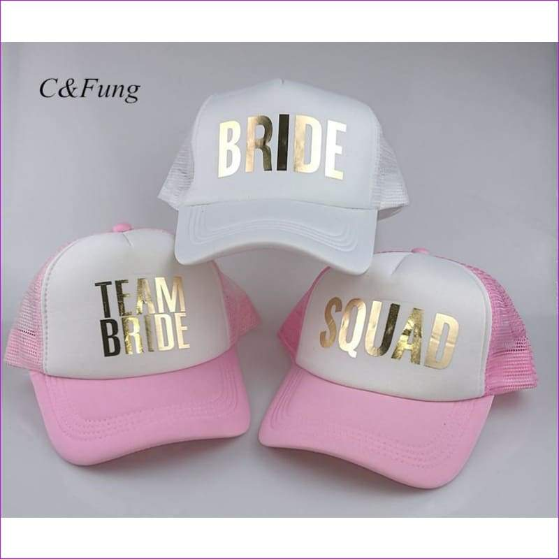 BRIDE TEAM BRIDE trucker hats basebal Caps for wedding party gold glitter pink mesh hats Summer style - Beach Hats