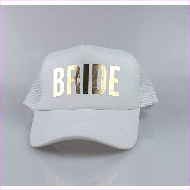 BRIDE TEAM BRIDE trucker hats basebal Caps for wedding party gold glitter pink mesh hats Summer style - BRIDE white hat - Beach Hats