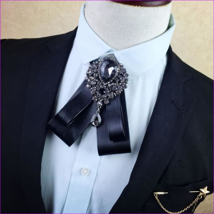 British Rhinestone Bow Tie Brooch Mens Brooches Pins General Bowtie - 3 - Tuxedo Shirts Tuxedo Shirts