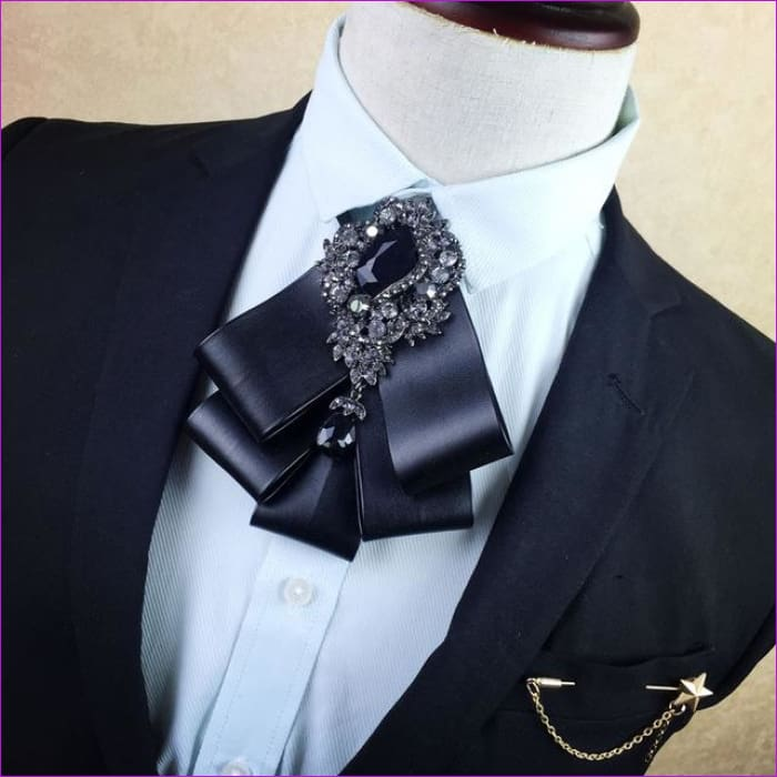 British Rhinestone Bow Tie Brooch Mens Brooches Pins General Bowtie - 4 - Tuxedo Shirts Tuxedo Shirts