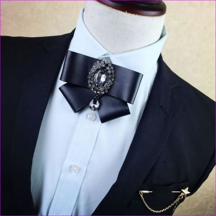 British Rhinestone Bow Tie Brooch Mens Brooches Pins General Bowtie - 5 - Tuxedo Shirts Tuxedo Shirts