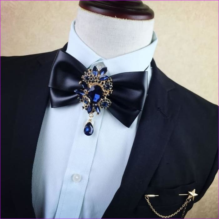 British Rhinestone Bow Tie Brooch Mens Brooches Pins General Bowtie - 7 - Tuxedo Shirts Tuxedo Shirts
