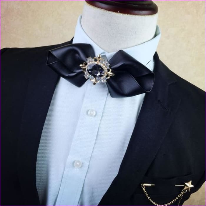 British Rhinestone Bow Tie Brooch Mens Brooches Pins General Bowtie - 9 - Tuxedo Shirts Tuxedo Shirts