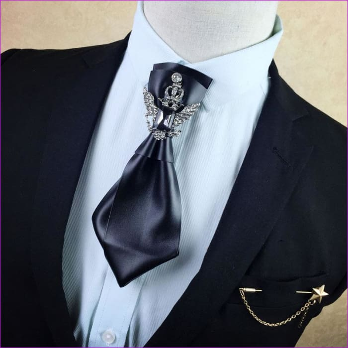 British Rhinestone Bow Tie Brooch Mens Brooches Pins General Bowtie - 1 - Tuxedo Shirts Tuxedo Shirts