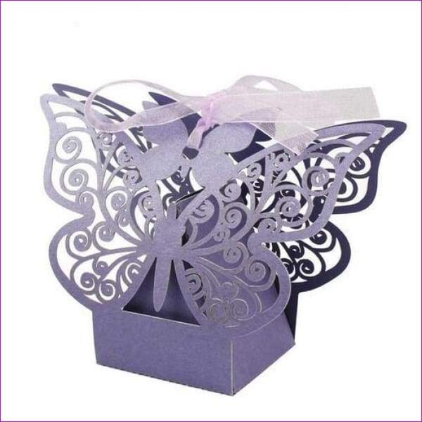 Butterfly Candy Box Wedding Favors and Gifts Box 20pcs/lot for Wedding Decoration - Purple - Wedding Favors