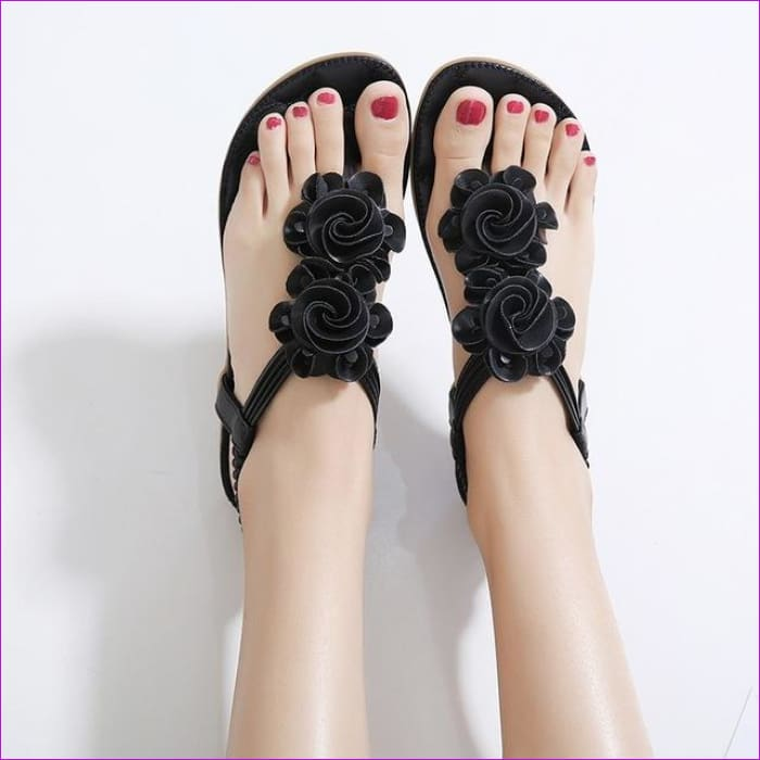 Casual Bohemia Flat Sandals Flower Flip flop Sweet Beach Sandals Shoes Size 35-41 - Black / 5 - Beach Sandals Beach Sandals cf-color-black