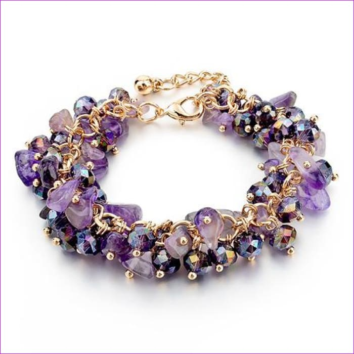 CHICVIE Charm Bracelets & Bangles with Stones Gold color Bracelet Femme for Women Jewelry personalized Purple Bracelet SBR140192 - Purple -