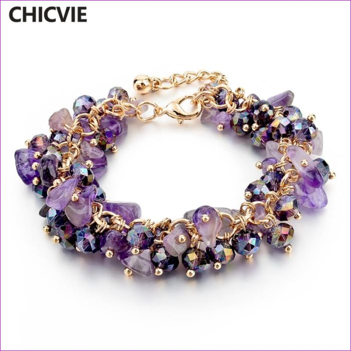 CHICVIE Charm Bracelets & Bangles with Stones Gold color Bracelet Femme for Women Jewelry personalized Purple Bracelet SBR140192 - Bracelets