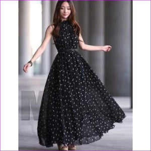 Chiffon Maternity Dresses Long Bohemian Party Evening Clothes For Pregnant Pregnancy Photography Props Photo Shoot Dress New Dot - Black -