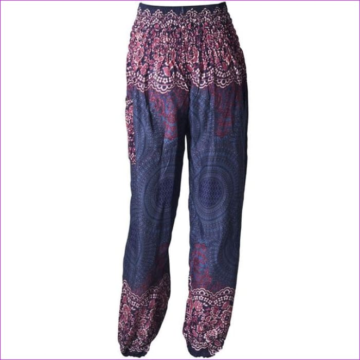 CHRLEISURE Summer Plus Size Beach Harem Pants Women Casual High Waist Floral Print Pants Vintage Loose Trousers Women - Blue / One Size /