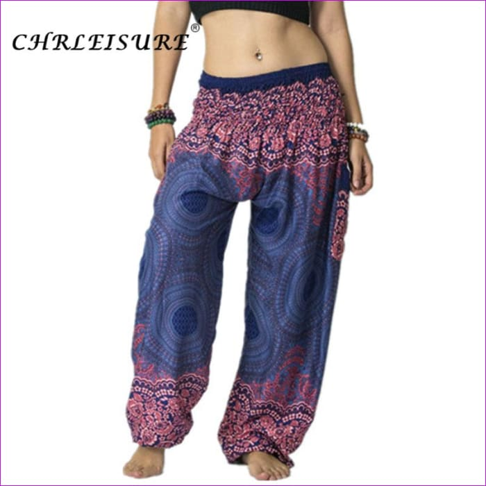 CHRLEISURE Summer Plus Size Beach Harem Pants Women Casual High Waist Floral Print Pants Vintage Loose Trousers Women - White / One Size /