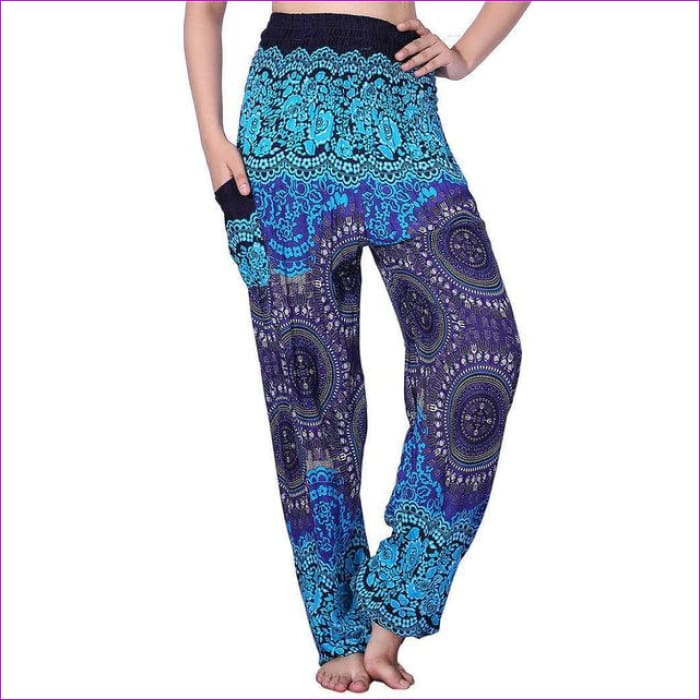 CHRLEISURE Summer Plus Size Beach Harem Pants Women Casual High Waist Floral Print Pants Vintage Loose Trousers Women - Compass-Blue / One