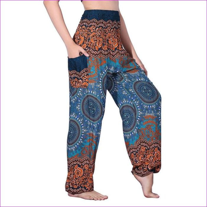 CHRLEISURE Summer Plus Size Beach Harem Pants Women Casual High Waist Floral Print Pants Vintage Loose Trousers Women - Compass-Green / One