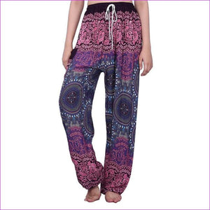 CHRLEISURE Summer Plus Size Beach Harem Pants Women Casual High Waist Floral Print Pants Vintage Loose Trousers Women - Compass-Purple / One