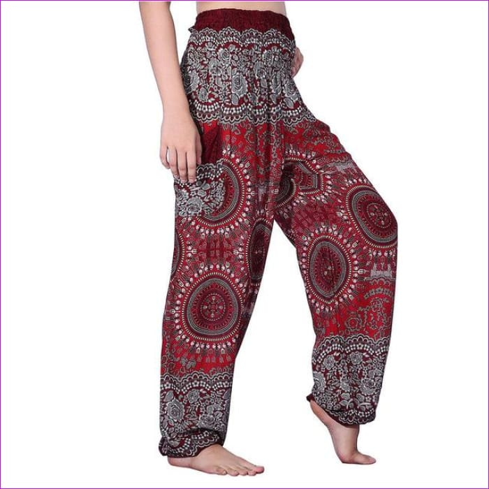 CHRLEISURE Summer Plus Size Beach Harem Pants Women Casual High Waist Floral Print Pants Vintage Loose Trousers Women - Compass-Wine / One
