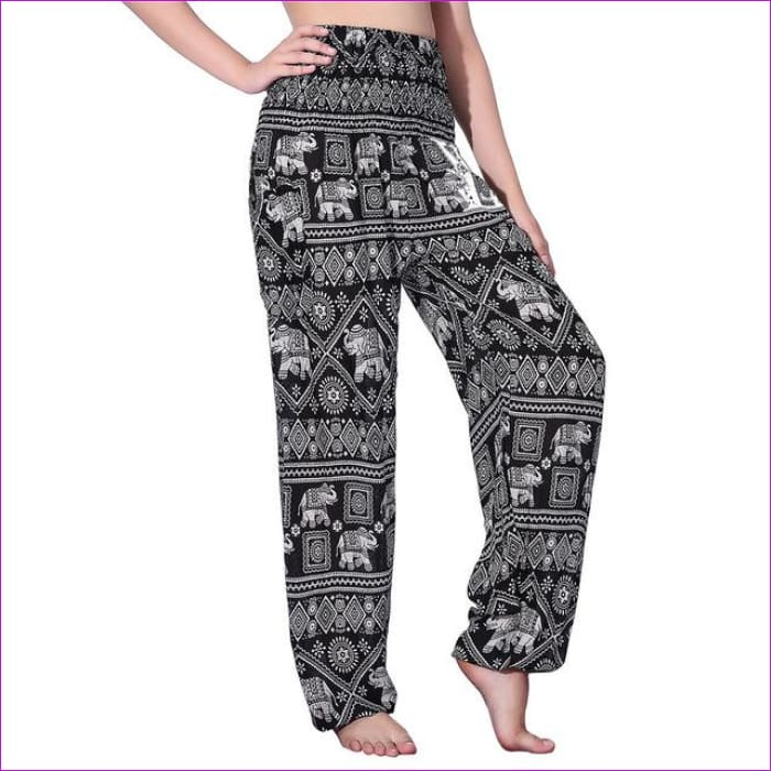 CHRLEISURE Summer Plus Size Beach Harem Pants Women Casual High Waist Floral Print Pants Vintage Loose Trousers Women - Elephant-1-Black /