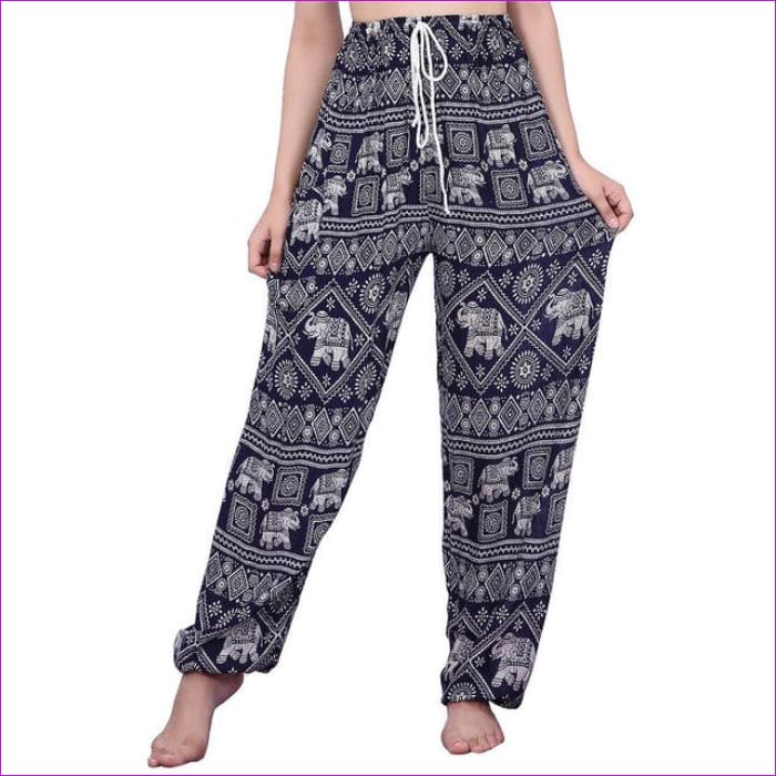CHRLEISURE Summer Plus Size Beach Harem Pants Women Casual High Waist Floral Print Pants Vintage Loose Trousers Women - Elephant-2-Blue /