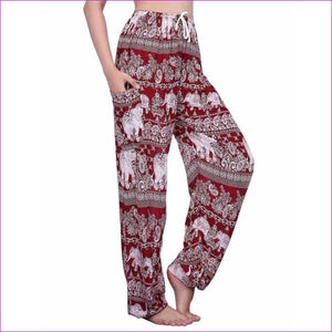 CHRLEISURE Summer Plus Size Beach Harem Pants Women Casual High Waist Floral Print Pants Vintage Loose Trousers Women - Elephant-3-Red / One