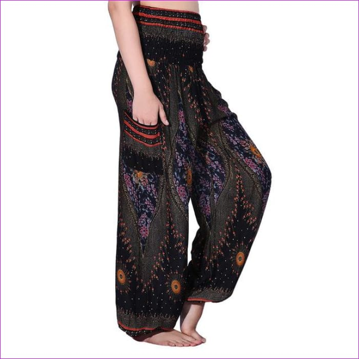 CHRLEISURE Summer Plus Size Beach Harem Pants Women Casual High Waist Floral Print Pants Vintage Loose Trousers Women - Eye-Black / One Size