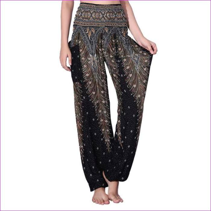 CHRLEISURE Summer Plus Size Beach Harem Pants Women Casual High Waist Floral Print Pants Vintage Loose Trousers Women - Feather-Black / One