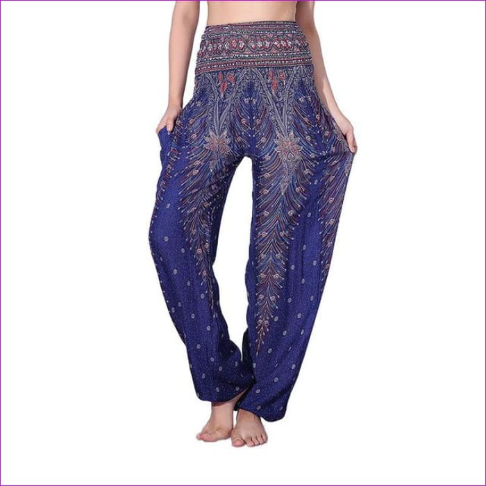 CHRLEISURE Summer Plus Size Beach Harem Pants Women Casual High Waist Floral Print Pants Vintage Loose Trousers Women - Feather-BluePuple /