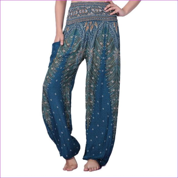 CHRLEISURE Summer Plus Size Beach Harem Pants Women Casual High Waist Floral Print Pants Vintage Loose Trousers Women - Feather-Green / One