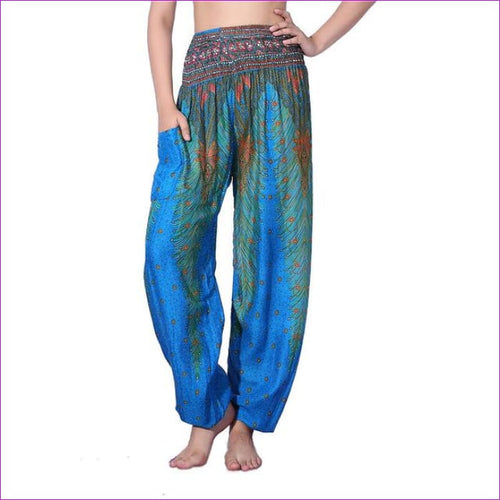 CHRLEISURE Summer Plus Size Beach Harem Pants Women Casual High Waist Floral Print Pants Vintage Loose Trousers Women - Feather-LackBlue /