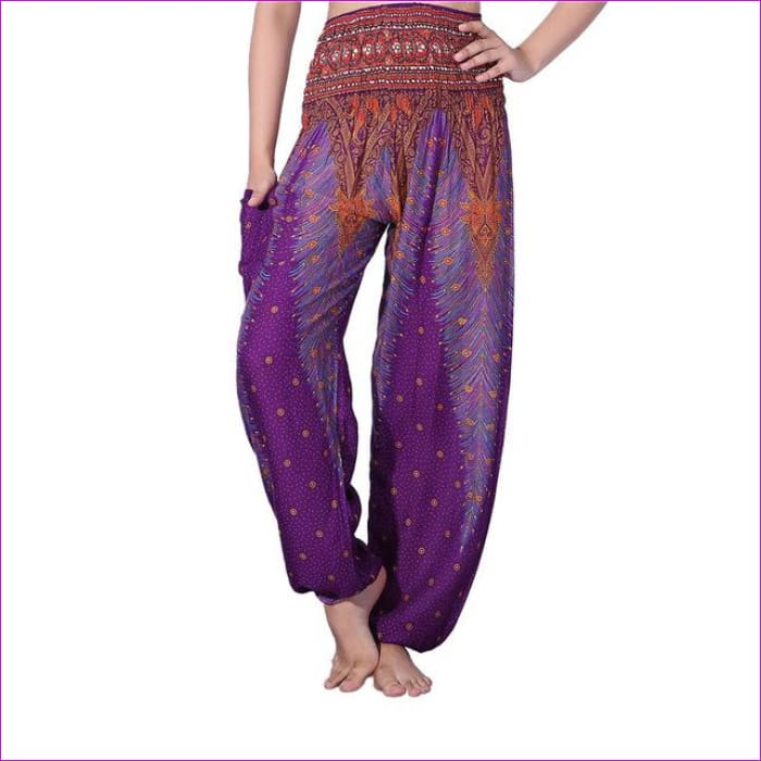CHRLEISURE Summer Plus Size Beach Harem Pants Women Casual High Waist Floral Print Pants Vintage Loose Trousers Women - Feather-Purple / One