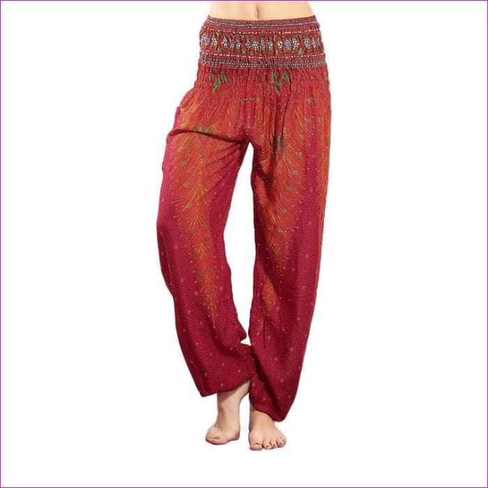 CHRLEISURE Summer Plus Size Beach Harem Pants Women Casual High Waist Floral Print Pants Vintage Loose Trousers Women - Feather-Red / One