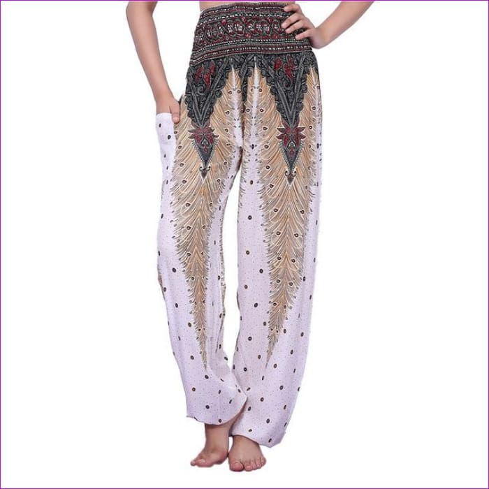 CHRLEISURE Summer Plus Size Beach Harem Pants Women Casual High Waist Floral Print Pants Vintage Loose Trousers Women - Feather-White / One