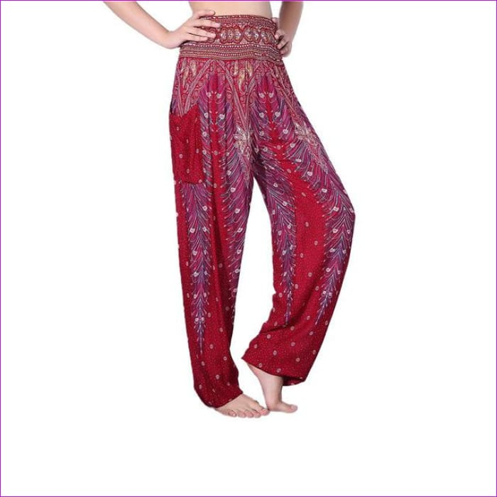 CHRLEISURE Summer Plus Size Beach Harem Pants Women Casual High Waist Floral Print Pants Vintage Loose Trousers Women - Feather-Wine / One