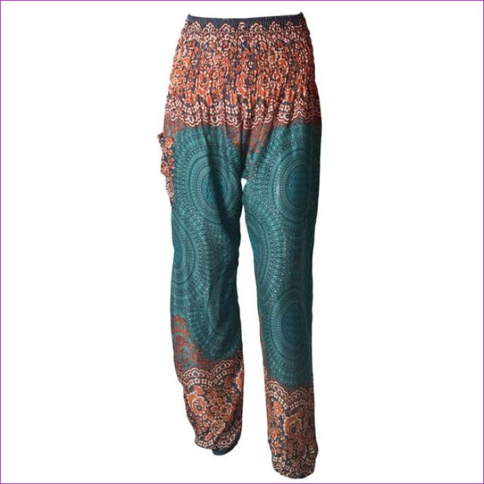 CHRLEISURE Summer Plus Size Beach Harem Pants Women Casual High Waist Floral Print Pants Vintage Loose Trousers Women - Green / One Size /