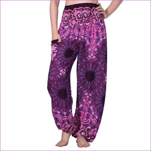 CHRLEISURE Summer Plus Size Beach Harem Pants Women Casual High Waist Floral Print Pants Vintage Loose Trousers Women - Mandala-Purple / One