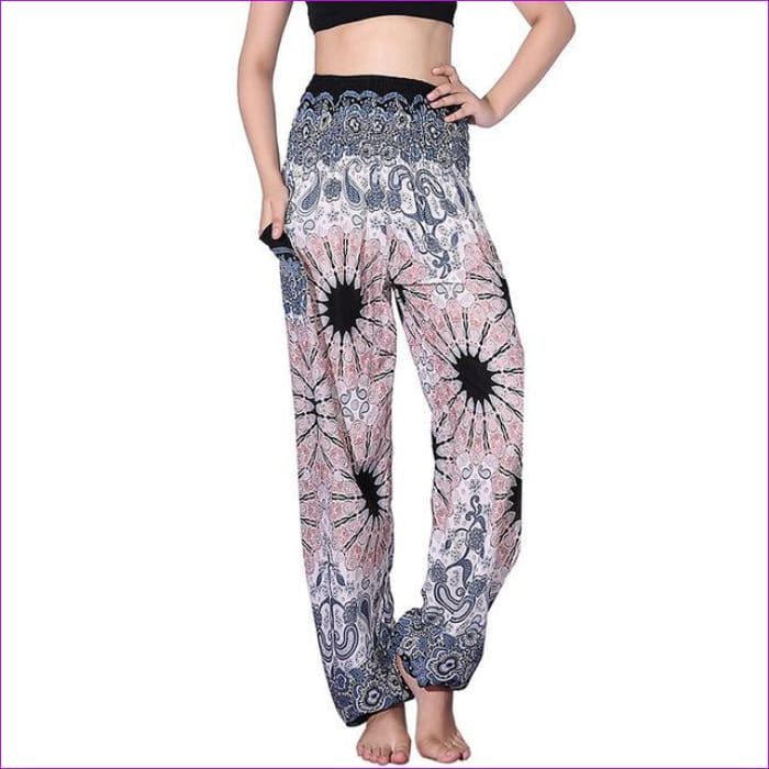 CHRLEISURE Summer Plus Size Beach Harem Pants Women Casual High Waist Floral Print Pants Vintage Loose Trousers Women - Mandala-White / One