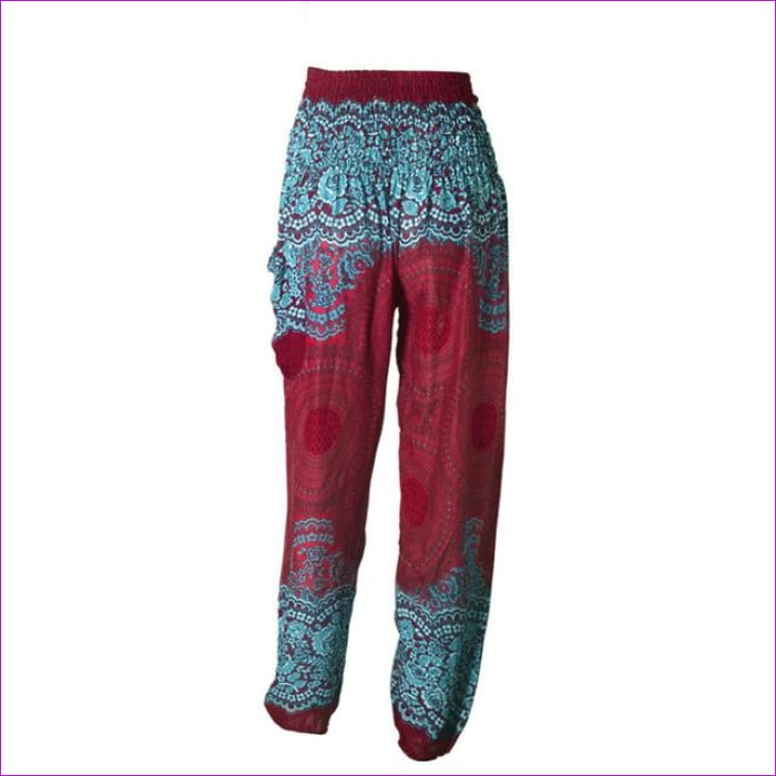 CHRLEISURE Summer Plus Size Beach Harem Pants Women Casual High Waist Floral Print Pants Vintage Loose Trousers Women - Wine / One Size /