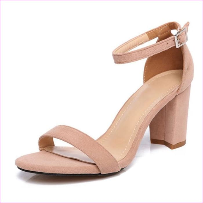 Chunky Heel Women Ankle Strap Gladiator Sandals Cover Heel Flock Party Shoes - Apricot / 5 - Sandals cf-color-apricot cf-color-black