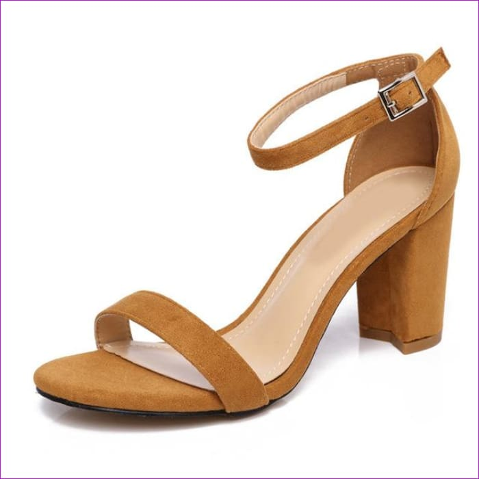 Chunky Heel Women Ankle Strap Gladiator Sandals Cover Heel Flock Party Shoes - Camel / 5 - Sandals cf-color-apricot cf-color-black