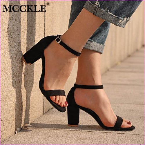 Chunky Heel Women Ankle Strap Gladiator Sandals Cover Heel Flock Party Shoes - Sandals cf-color-apricot cf-color-black cf-color-camel