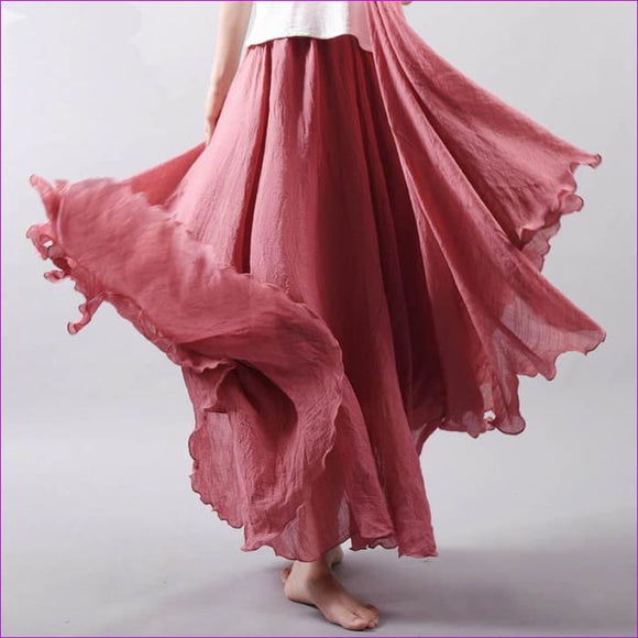 Cotton Long Skirt Women Summer Candy Color Pleated A-Linen Big Circel Faldas Female Vintage Elastic Waist Beach Maxi Skirt - Skirts