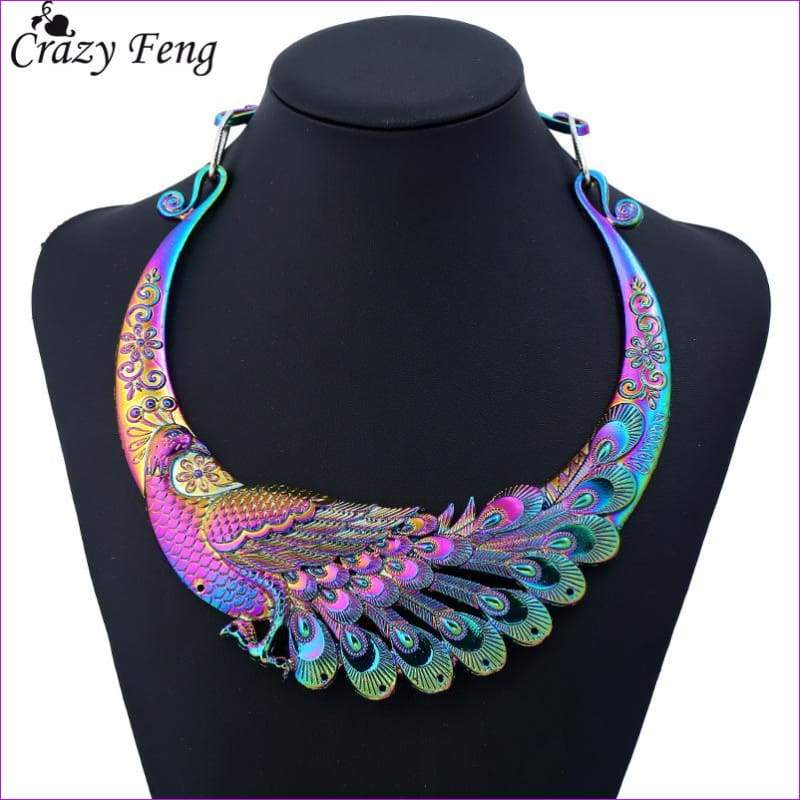 Crazy Feng Retro Ethnic Carved Colorful Peacock Big Necklace Indian Maxi Jewelry Women Silver Color Exaggerated Necklace Bijoux - Necklaces
