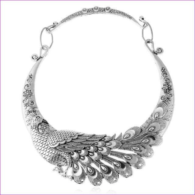 Crazy Feng Retro Ethnic Carved Colorful Peacock Big Necklace Indian Maxi Jewelry Women Silver Color Exaggerated Necklace Bijoux - silver